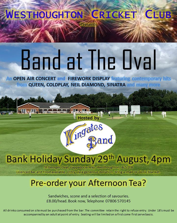 Wingates Band Public Fireworks Concert at Westhoughton Cricket Club